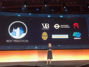 "Teresa Carlson, VP of Worldwide Public Sector at AWS, announcing the City on a Cloud Challenge ""Best Practices"" winners"
