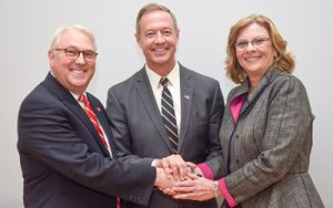 Chancellor Randy Woodson, NC State and Mayor Nancy McFarlane, City of Raleigh. Courtesy of Becky Kirkland.